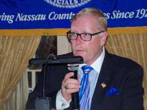 NCVOA President-elect Ralph Ekstrand delivers his remarks following the formal installation of NCVOA Officers for 2018-2019