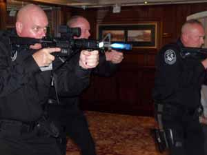 Nassau County Tactical Squad members demonstrate the Diamond Formation used to enter an area during an active shooter situation