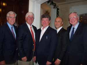 Upper Brookville Mayor Elliot Conway, Cove Neck Mayor Thomas Zoller and Trustee Ted Gutierrez, newly elected Muttontown Mayor Dr. James Liguori, and