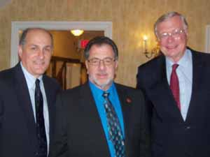 Westbury Mayor and NCVOA Past President Peter Cavallaro, Westbury Trustee Steve Corte, and Old Brookville Mayor and NCVOA Immediate Past President Bernie Ryba